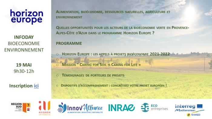 Webinaire d'information Horizon Europe :Alimentation, bioéconomie, ressources naturelles, agriculture et environnement.